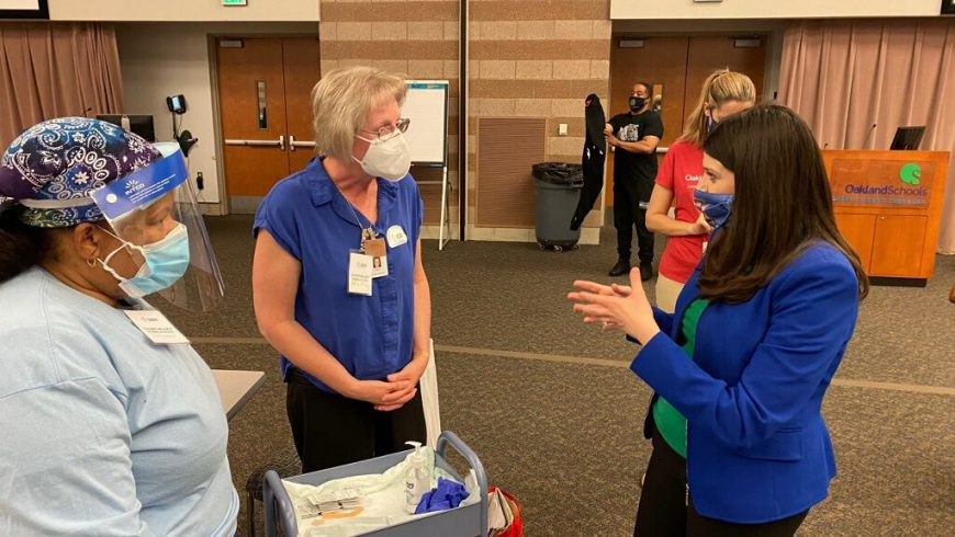 Congresswoman Haley Stevens attends COVID-19 Vaccine Clinic in Partnership with Oakland Schools